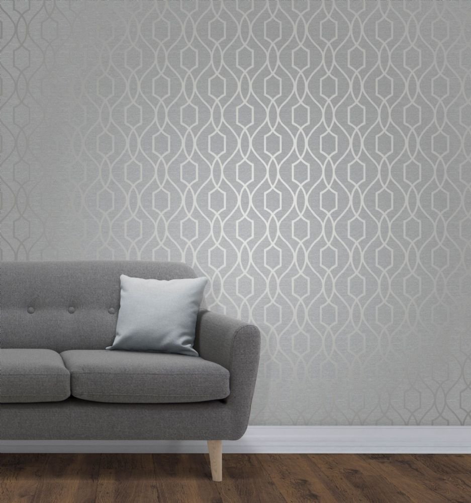 Fine Decor Apex Geo Trellis Silver FD41995 Wallpaper